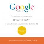 Brébant Robin - Certifié Google Analytics