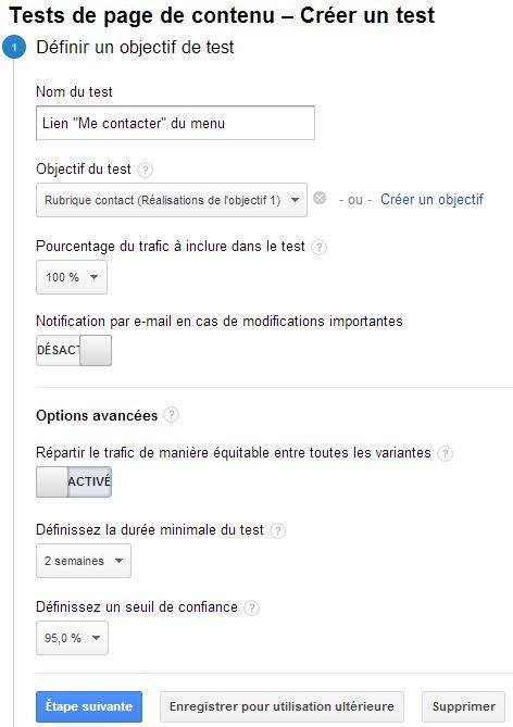 Configuration d'un test Google Analytics : étape 1