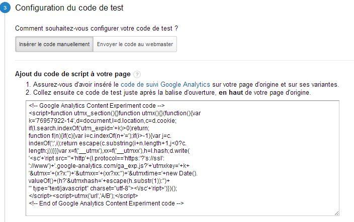 Configuration d'un test Google Analytics : étape 3