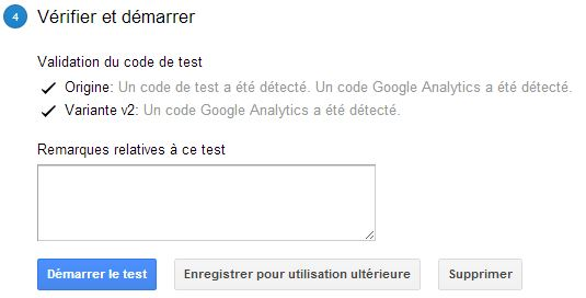 Configuration d'un test Google Analytics : étape 4