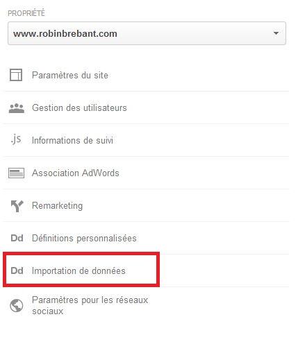 Menu pour importer des données dans Google Analytics