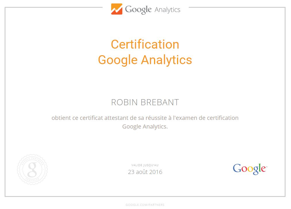 Nouvelle certification Google Analytics GAIQ
