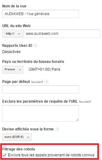 Exclure les robots - configuration Google Analytics