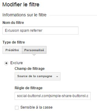 Filtre contre le spam des sites référents Google Analytics