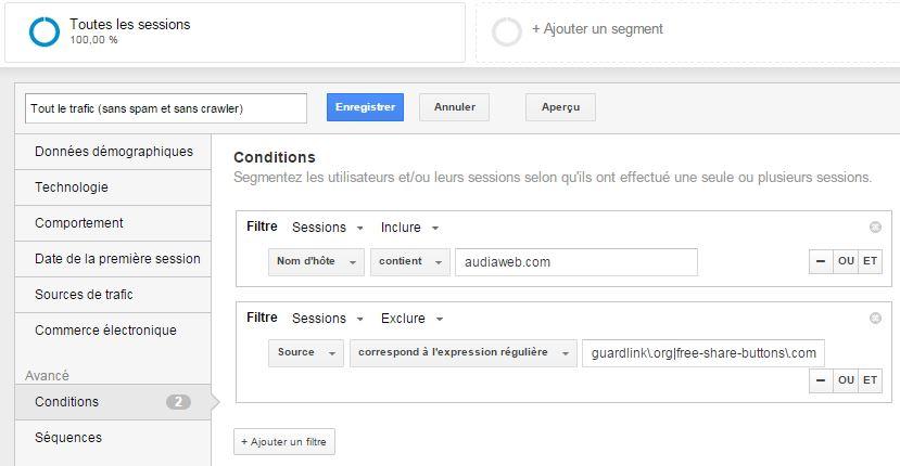 Configuration d'un segment Google Analytics anti-spam
