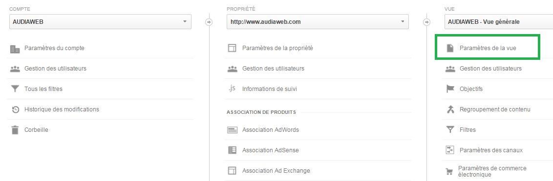 Configuration des rapports sur la recherche interne - Google Analytics